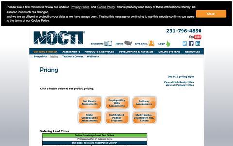 Screenshot of Pricing Page nocti.org - NOCTI - captured Nov. 7, 2018