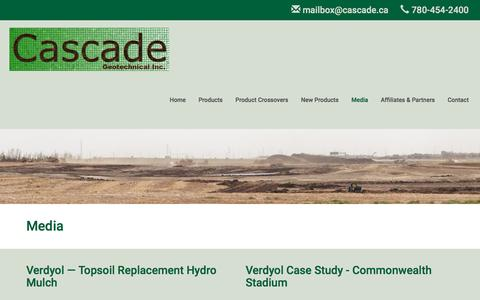 Screenshot of Press Page cascade.ab.ca - Erosion Control and Gabion Systems Case Studies - Cascade Geotechnical - captured Oct. 26, 2016