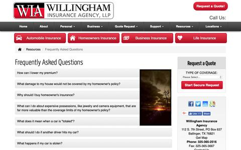 Screenshot of FAQ Page willinghamagency.com - Frequently Asked Questions - Ballinger Texas - Willingham Insurance Agency - captured Oct. 19, 2018