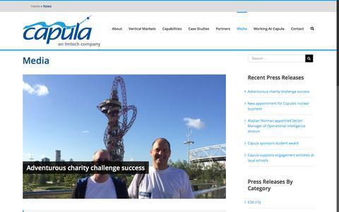 Screenshot of Press Page capula.co.uk - News   Capula - captured Oct. 21, 2016