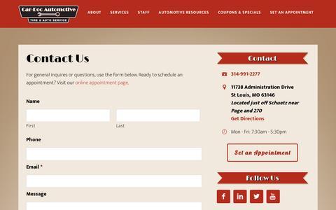 Screenshot of Contact Page cardocautomotive.com - Contact Us - Car-Doc Automotive - captured March 11, 2016