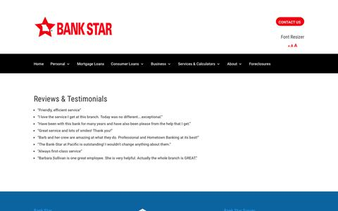 Screenshot of Testimonials Page bank-star.com - Testimonials - Bank Star - Online Banking, Checking, Savings, Commercial, Mortgage, Personal Loans - captured Oct. 5, 2018