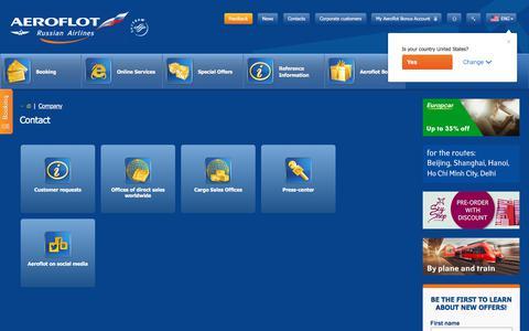 Screenshot of Contact Page aeroflot.ru - Contact   Aeroflot - captured Sept. 21, 2018