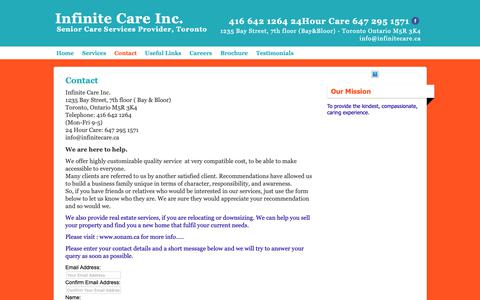 Screenshot of Contact Page infinitecare.ca - Contact Infinite Care - captured Nov. 12, 2018