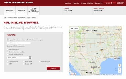 Screenshot of Locations Page ffin.com - Our Locations | First Financial Bank & ATM Locations | First Financial Bank - captured Nov. 11, 2016