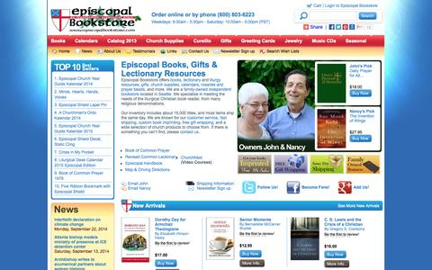 Screenshot of Menu Page episcopalbookstore.com - Episcopal Bookstore - Books, Gifts, Book Of Common Prayer - captured Sept. 30, 2014