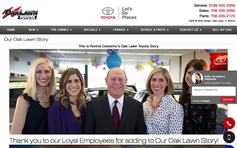 Screenshot of About Page oaklawntoyota.com - Our Oak Lawn Story - captured June 11, 2017