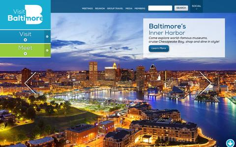 Screenshot of Home Page baltimore.org - Visit Baltimore | Official Travel Website for Baltimore Maryland - captured Sept. 23, 2014