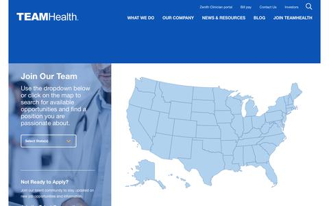 Screenshot of Maps & Directions Page teamhealth.com - Interactive Map - TeamHealth - captured May 1, 2019