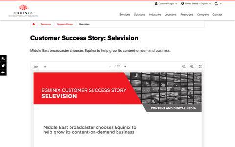 Screenshot of Case Studies Page equinix.com - Selevision Customer Success Story | Equinix - captured Dec. 29, 2017