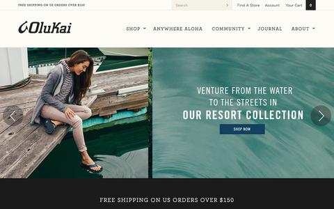 Screenshot of Home Page olukai.com - Hawaiian Crafted Leather Sandals and Footwear | OluKai - captured Oct. 28, 2015