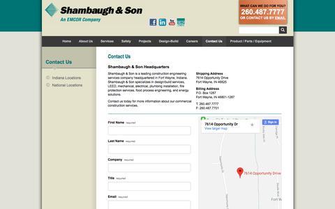 Screenshot of Contact Page shambaugh.com - Design Build Construction   Shambaugh & Son - captured Feb. 25, 2018