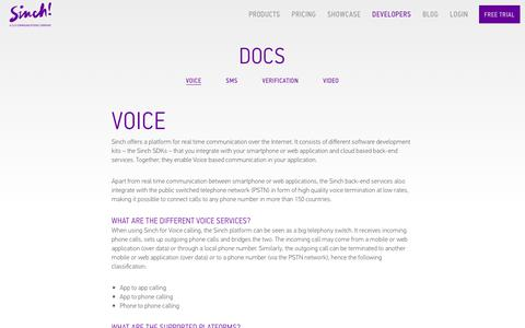 Screenshot of Developers Page sinch.com - Voice API and SDK Documentation | Sinch - captured Oct. 31, 2018