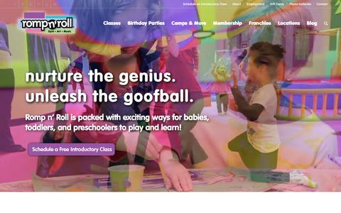 Screenshot of Home Page rompnroll.com - Romp n' Roll Kids Gym | Classes for Babies, Toddlers, & Preschoolers | Birthday Parties - captured Feb. 15, 2016