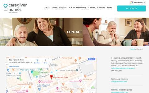 Screenshot of Contact Page caregiverhomes.com - Contact Us   Caregiver Homes - captured April 11, 2019