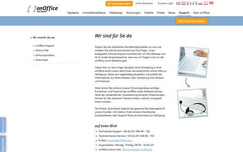 Screenshot of Support Page onoffice.de - onOffice - Wir garantieren Service & Support - onOffice Software AG - captured Sept. 19, 2014