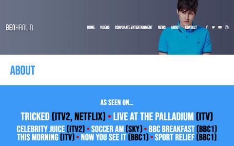 Screenshot of About Page benhanlin.com - ABOUT - Ben Hanlin - captured Oct. 18, 2018