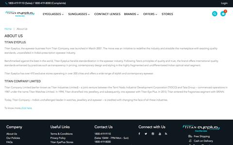 Screenshot of About Page titan.co.in - About Us - captured July 9, 2017