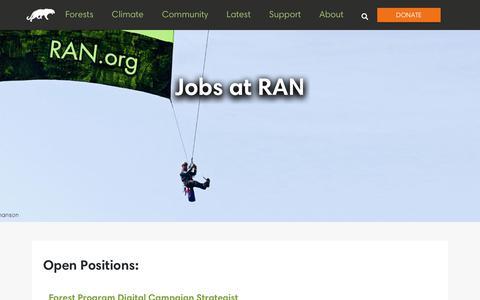 Screenshot of Jobs Page ran.org - Jobs at RAN - Rainforest Action Network - captured Aug. 3, 2018