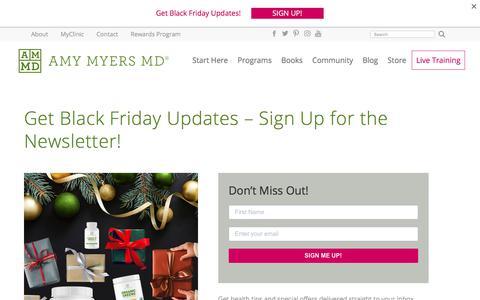Screenshot of Signup Page amymyersmd.com - Black Friday Newsletter Sign Up - Amy Myers MD - captured Nov. 26, 2019