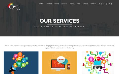 Screenshot of Services Page oyeonline.com - Online Reputation Management Company | Our Services - captured Feb. 16, 2016