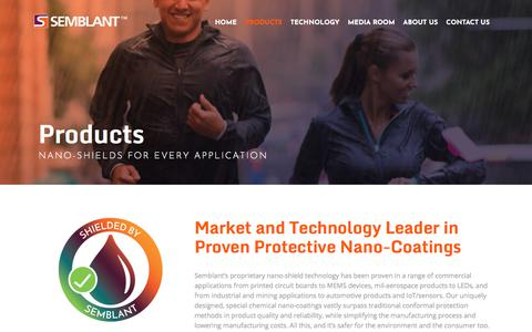 Screenshot of Products Page semblant.com - Protective Nano-Coatings | Nano-Shield Products From Semblant : Semblant - captured Sept. 21, 2018