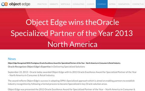 Screenshot of Press Page objectedge.com - Oracle ATG Web Commerce Consulting & Services | News | Object Edge - captured Aug. 12, 2015
