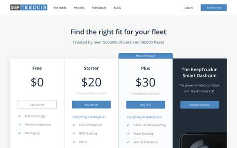 Screenshot of Pricing Page keeptruckin.com - KeepTruckin Pricing - captured July 26, 2019