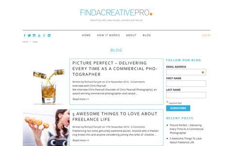 Screenshot of Blog findacreativepro.com - Blog - Find a Creative Pro - captured Nov. 24, 2016