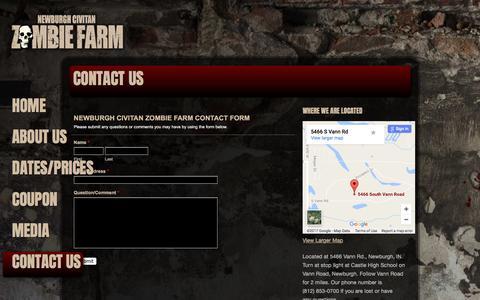 Screenshot of Contact Page zombiefarm.net - Contact the Newburgh Civitan Zombie Farm - captured April 9, 2017