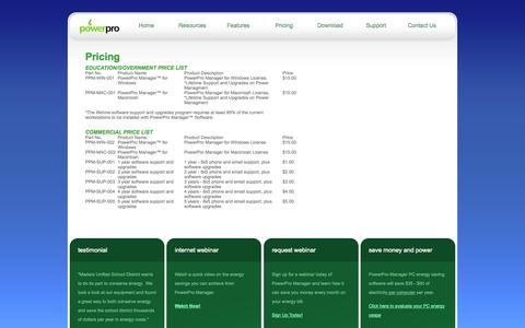 Screenshot of Pricing Page powerpromanager.com - Pricing | Computer Power Management Software for Schools & Government Agencies - captured Oct. 3, 2014
