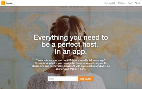 Screenshot of Home Page roombler.com - Roombler - Everything you need to be a perfect host. In an app. - captured Aug. 14, 2016