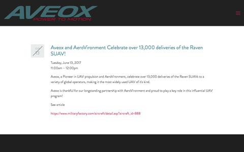 Screenshot of Press Page aveox.com - Aveox and AeroVironment Celebrate over 13,000 RQ-11 Raven SUAV deliveries! — Aveox - captured Oct. 9, 2017