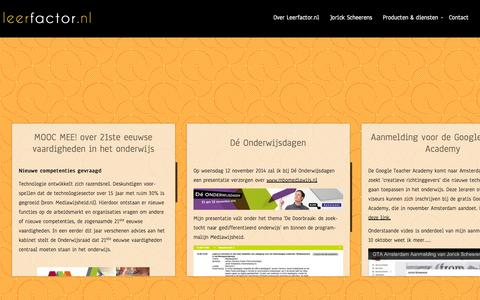 Screenshot of Home Page leerfactor.nl - Leerfactor.nl | Over onderwijs, innovatie, mediawijsheid en sociale media - captured Oct. 2, 2014