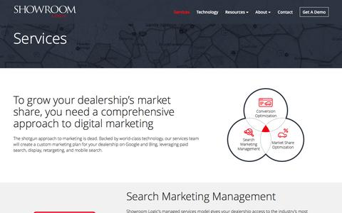 Screenshot of Services Page showroomlogic.com - Search Engine Marketing Services | Automotive Digital Marketing - captured Nov. 23, 2016