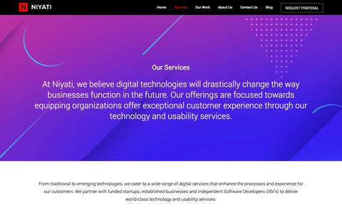 Screenshot of Services Page niyati.com - Application Development, Digital and Usability Design Services - captured Nov. 20, 2018