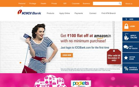 Screenshot of Home Page icicibank.com - Personal Banking, Online Banking Services - ICICI Bank - captured Dec. 28, 2015