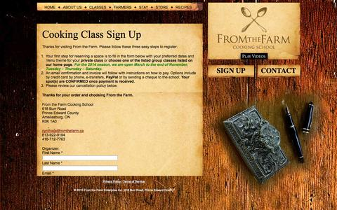 Screenshot of Signup Page fromthefarm.ca - Sign Up for Cooking Classes: From the Farm, Prince Edward County - captured Oct. 6, 2014