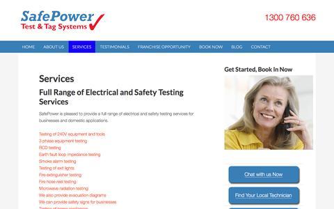 Screenshot of Services Page safepower.net.au - Services - SafePower - captured Nov. 18, 2016