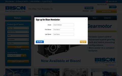 Screenshot of Home Page bisongear.com - Bison Gear & Engineering - AC & DC Gearmotors - captured Oct. 5, 2014