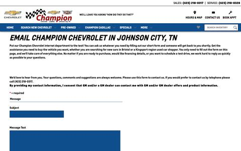 Screenshot of Contact Page FAQ Page championjc.com - Champion Chevrolet in Johnson City | Contact Us - captured Oct. 31, 2018