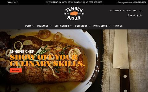 Screenshot of Home Page tenderbelly.com - Tender Belly: Awesome Bacon, Pork, Sausage, Wagyu Beef, and more                | Tender Belly - captured March 28, 2018