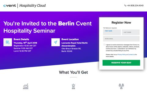 Screenshot of Landing Page cvent.com - Berlin Cvent Hospitality Seminar | Cvent UK - captured April 13, 2018