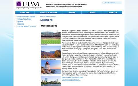 Screenshot of Locations Page epm-inc.com - Locations - captured Oct. 5, 2014