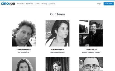 Screenshot of Team Page cincopa.com - Our Team - captured July 18, 2018