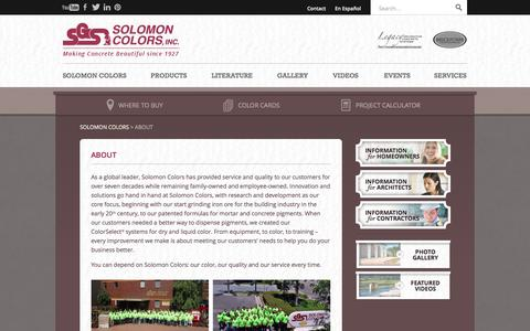 Screenshot of About Page solomoncolors.com - Dry and Liquid Color Pigments for Concrete and Mortar | Solomon Colors, Inc. - captured Oct. 29, 2014