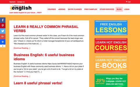 Screenshot of Blog learnhotenglish.com - Blog - Learn Hot English - captured Sept. 29, 2018