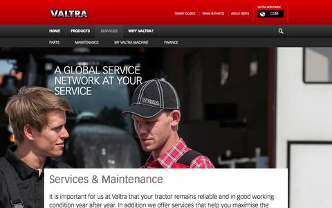 Screenshot of Services Page valtra.com - Valtra - Services - captured Oct. 7, 2014