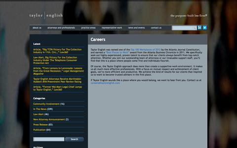Screenshot of Jobs Page taylorenglish.com - Careers - Taylor English - The purpose-built law firm - captured Oct. 9, 2014