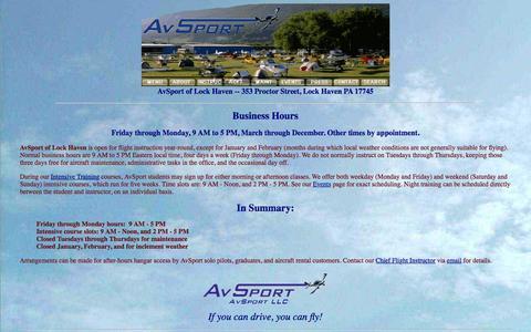 Screenshot of Hours Page avsport.org - AvSport of Lock Haven: Business Hours - captured Feb. 6, 2016